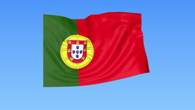 Waving flag of Portugal, seamless loop. Exact size, blue background. Part of all countries set. 4K ProRes with alpha. Flapping flag of Portugal, blue background royalty free illustration
