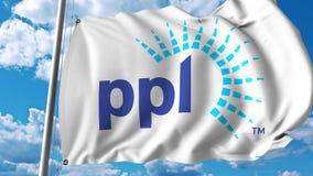 Waving flag with PPL Corporation logo. 4K editorial animation. Waving flag with PPL Corporation logo. 4K editorial clip vector illustration
