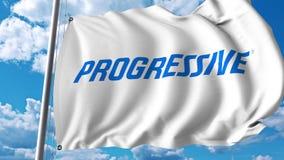 Waving flag with Progressive Corporation logo. 4K editorial animation. Waving flag with Progressive Corporation logo. 4K editorial clip stock illustration