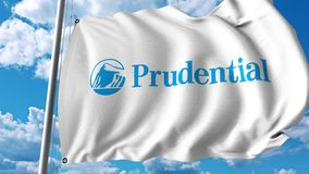Waving flag with Prudential Financial logo. 4K editorial animation. Waving flag with Prudential Financial logo. 4K editorial clip stock illustration