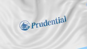Waving flag with Prudential Financial logo. Seamles loop 4K editorial animation. Waving flag with Prudential Financial logo. Seamles loop 4K editorial clip stock illustration
