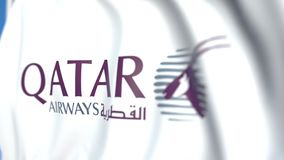 Waving flag with Qatar Airways logo, close-up. Editorial loopable 3D animation vector illustration