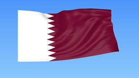 Waving flag of Qatar, seamless loop. Exact size, blue background. Part of all countries set. 4K ProRes with alpha. Flapping flag of Qatar, blue background stock video