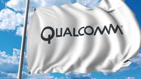 Waving flag with Qualcomm logo. 4K editorial animation. Waving flag with Qualcomm logo. 4K editorial clip royalty free illustration