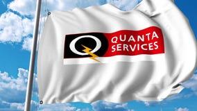 Waving flag with Quanta Services logo. 4K editorial animation. Waving flag with Quanta Services logo. 4K editorial clip royalty free illustration