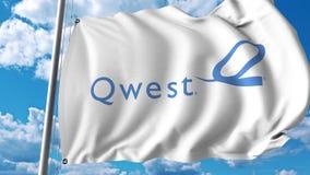 Waving flag with Qwest logo. 4K editorial animation. Waving flag with Qwest logo. 4K editorial clip royalty free illustration