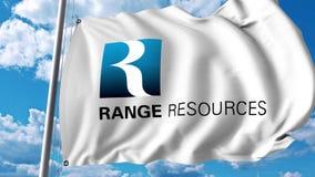 Waving flag with Range Resources logo. 4K editorial animation. Waving flag with Range Resources logo. 4K editorial clip stock illustration
