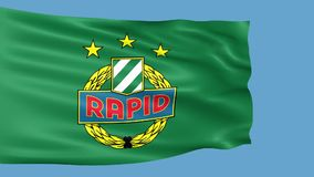 Waving flag with Rapid Wien football club logo stock video