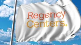 Waving flag with Regency Centers Corporation logo. 4K editorial animation. Waving flag with Regency Centers Corporation logo. 4K editorial clip stock illustration