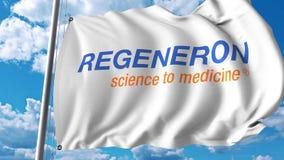 Waving flag with Regeneron logo. 4K editorial animation. Waving flag with Regeneron logo. 4K editorial clip royalty free illustration