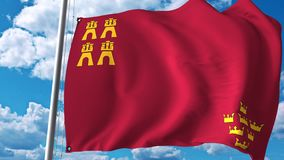 Waving flag of Region of Murcia, an autonomous community in Spain. 3D rendering. Waving flag of Region of Murcia, an autonomous community in Spain. 3D Royalty Free Stock Photos