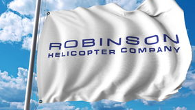 Waving flag with Robinson Helicopter Company logo. Editoial 3D rendering. Waving flag with Robinson Helicopter Company logo. Editorial 3D Royalty Free Stock Photography
