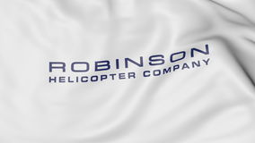 Waving flag with Robinson Helicopter Company logo. Editorial 3D rendering. Waving flag with Robinson Helicopter Company logo. Editorial 3D Royalty Free Stock Images