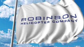 Waving flag with Robinson Helicopter Company logo. 4K editorial animation. Waving flag with Robinson Helicopter Company logo. 4K editorial clip stock illustration