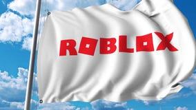 Waving flag with Roblox logo. 4K editorial animation. Waving flag with Roblox logo. 4K editorial clip royalty free illustration