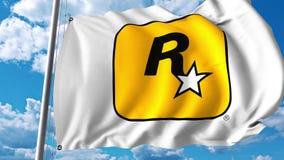 Waving flag with Rockstar Games logo. 4K editorial animation. Waving flag with Rockstar Games logo. 4K editorial clip vector illustration