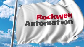 Waving flag with Rockwell Automation logo. 4K editorial animation. Waving flag with Rockwell Automation logo. 4K editorial clip royalty free illustration