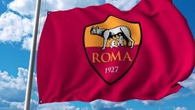 Waving flag with Roma football team logo. Editorial 3D rendering. Waving flag with Roma football team logo. Editorial 3D Stock Photos