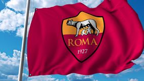 Waving flag with Roma football team logo. 4K editorial clip. Waving flag with Roma football team logo. 4K editorial animation vector illustration
