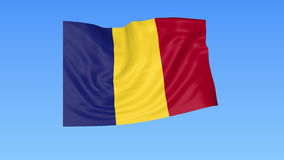 Waving flag of Romania, seamless loop. Exact size, blue background. Part of all countries set. 4K ProRes with alpha. Flapping flag of Romania, blue background stock illustration
