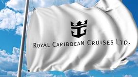 Waving flag with Royal Caribbean Cruises Ltd logo. 4K editorial animation. Waving flag with Royal Caribbean Cruises Ltd logo. 4K editorial clip royalty free illustration