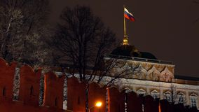 Waving flag of Russia above the Moscow Kremlin at night. Waving flag of Russia above the Moscow Kremlin Stock Photos