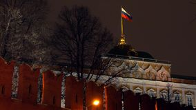 Waving flag of Russia above the Moscow Kremlin at night. Waving flag of Russia above the Moscow Kremlin stock video