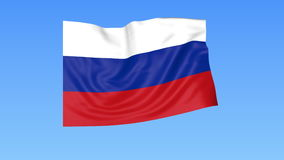 Waving flag of Russia, seamless loop. Exact size, blue background. Part of all countries set. 4K ProRes with alpha. Flapping flag of Russia, blue background vector illustration