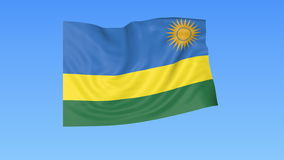 Waving flag of Rwanda, seamless loop. Exact size, blue background. Part of all countries set. 4K ProRes with alpha. Flapping flag of Rwanda, blue background royalty free illustration