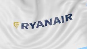 Waving flag of Ryanair against blue sky background, seamless loop. Editorial 4K animation stock video footage