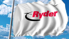 Waving flag with Ryder logo. Editoial 3D rendering royalty free illustration