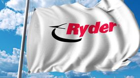 Waving flag with Ryder logo. 4K editorial animation. Waving flag with Ryder logo. 4K editorial clip vector illustration