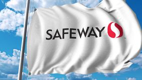 Waving flag with Safeway Inc logo. 4K editorial animation. Waving flag with Safeway Inc logo. 4K editorial clip stock illustration