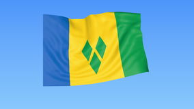 Waving flag of Saint Vincent and the Grenadines, seamless loop. Exact size, blue background. Part of all countries set. Flapping flag of Saint Vincent and the stock illustration