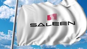 Waving flag with Saleen Automotive logo. 4K editorial animation. Waving flag with Saleen Automotive logo. 4K editorial clip vector illustration