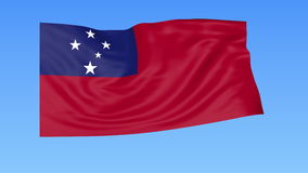 Waving flag of Samoa, seamless loop. Exact size, blue background. Part of all countries set. 4K ProRes with alpha. Flapping flag of Samoa, blue background vector illustration