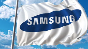 Waving flag with Samsung logo against sky and clouds. Editorial 3D rendering Royalty Free Stock Photo