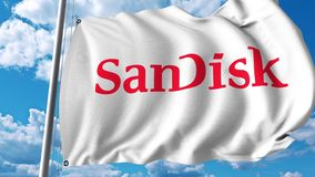 Waving flag with Sandisk logo. 4K editorial animation. Waving flag with Sandisk logo. 4K editorial clip stock illustration