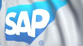 Waving flag with SAP SE logo, close-up. Editorial loopable 3D animation stock illustration
