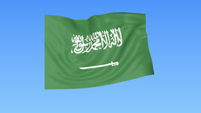 Waving flag of Saudi Arabia, seamless loop. Exact size, blue background. Part of all countries set. 4K ProRes. Flapping flag of Saudi Arabia, blue background royalty free illustration