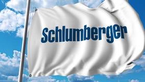 Waving flag with Schlumberger logo. 4K editorial animation. Waving flag with Schlumberger logo. 4K editorial clip vector illustration