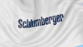 Waving flag with Schlumberger logo. Seamles loop 4K editorial animation. Waving flag with Schlumberger logo. Seamles loop 4K editorial clip royalty free illustration