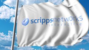 Waving flag with Scripps Networks Interactive logo. 4K editorial animation. Waving flag with Scripps Networks Interactive logo. 4K editorial clip royalty free illustration