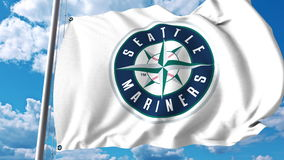 Waving flag with Seattle Mariners professional team logo. Editorial 3D rendering Royalty Free Stock Photos