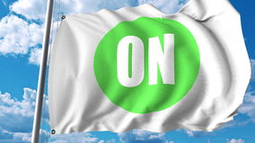 Waving flag with On Semiconductor logo. Editoial 3D rendering. Waving flag with On Semiconductor logo. Editorial 3D Royalty Free Stock Image