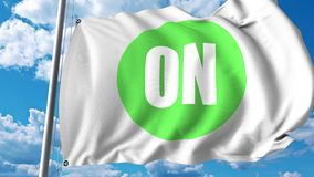 Waving flag with On Semiconductor logo. 4K editorial animation. Waving flag with On Semiconductor logo. 4K editorial clip stock illustration
