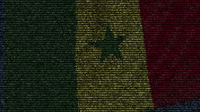 Waving flag of Senegal made of text symbols on a computer screen. Conceptual loopable animation. Waving flag made of symbols on a computer screen stock video