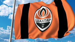 Waving flag with Shakhtar Donetsk football team logo. Editorial 3D rendering Royalty Free Stock Images
