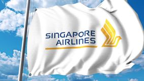 Waving flag with Singapore Airlines logo. 4K editorial clip
