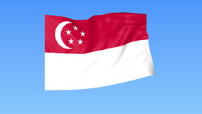 Waving flag of Singapore, seamless loop. Exact size, blue background. Part of all countries set. 4K ProRes with alpha. Flapping flag of Singapore, blue royalty free illustration